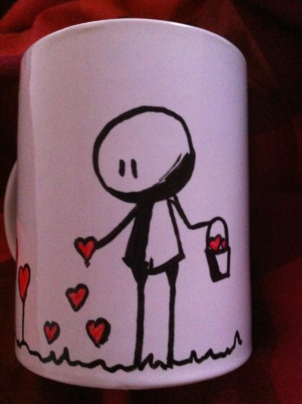 Plantando corazones. Taza pintada a mano. Handpainted mug.