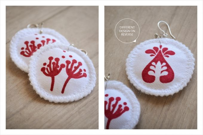 Handprinted whimsical flower earrings on 100% cotton fabric - Pin cushion by Doeksisters on hellopretty.co.za