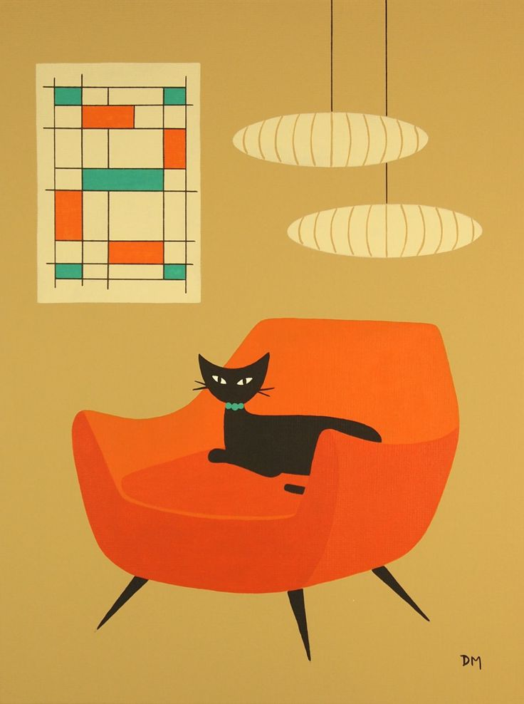 nice cat for inspiration - - - Mid Century Modern, 9 X 12 Original Acrylic Painting. $45.00, via Etsy.