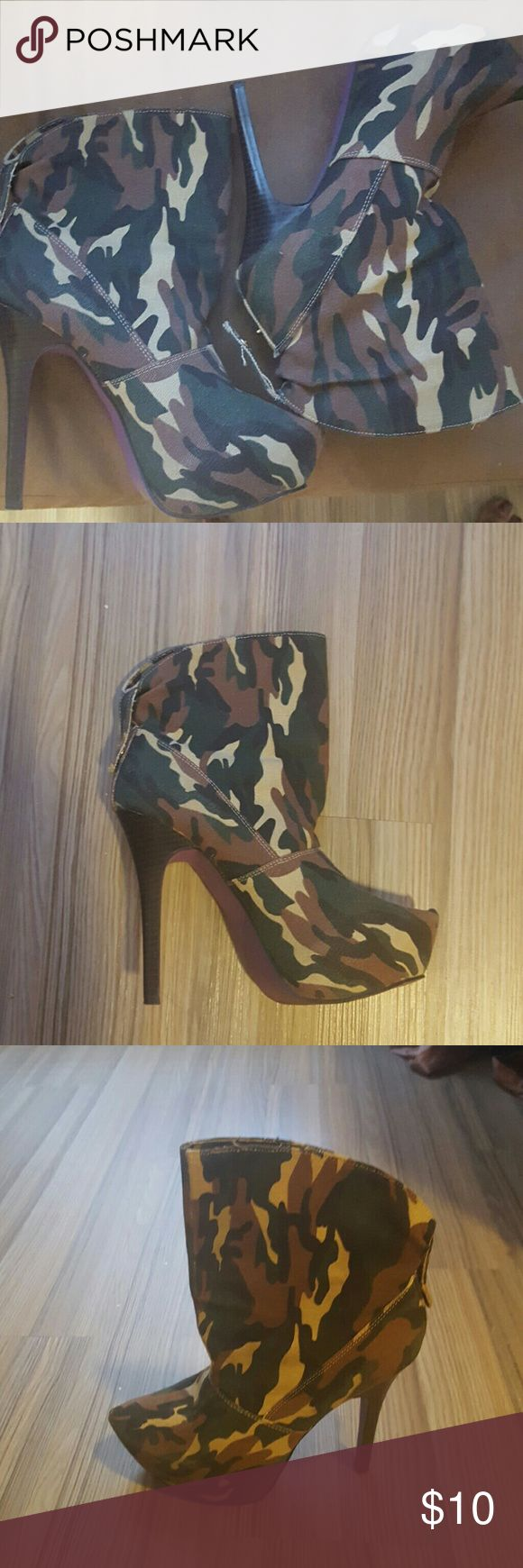 "Camo ankle boots Camouflage ankle boots with pointed toe.  5"" heel.  2"" platform.  So comfortable and sexy. Gently worn. Shoes Ankle Boots & Booties"