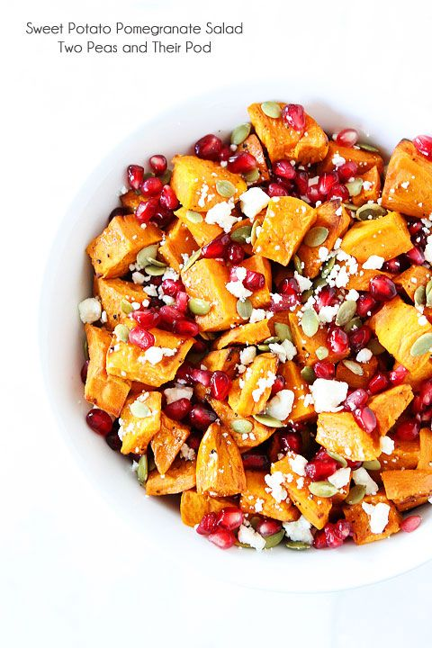 Try an easy sweet potato salad, jazzed up with pomegranate, feta and pumpkin seeds.