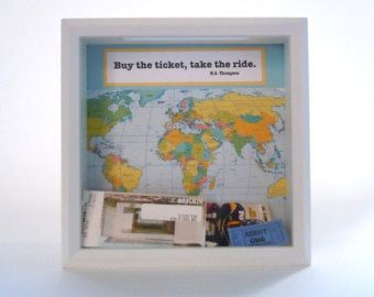 Ticket Holder - Gift for Traveler - Shadow Box Ticket Keeper - Great Gift - Ticket Display Box - HS Thompson Quote - White Shadow Box