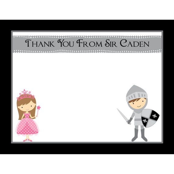 20 Personalized Birthday Thank You Cards Knight and Princess – Personalized Birthday Thank You Cards