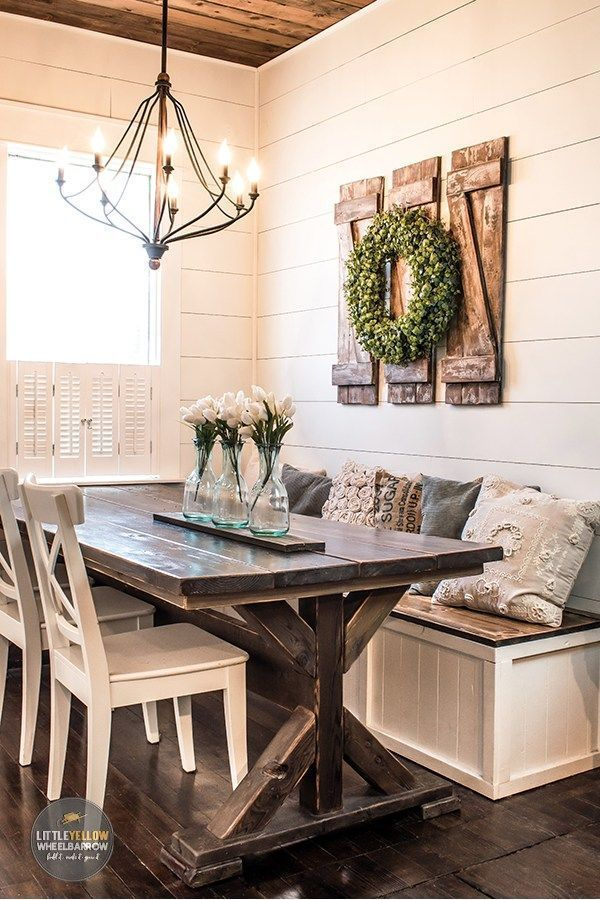 How To Build Simple And Inexpensive Rustic Shutters Decoration Decoration Ideas Party Deco In 2020 Dining Room Wall Decor Farmhouse Dining Room Table Dining Nook