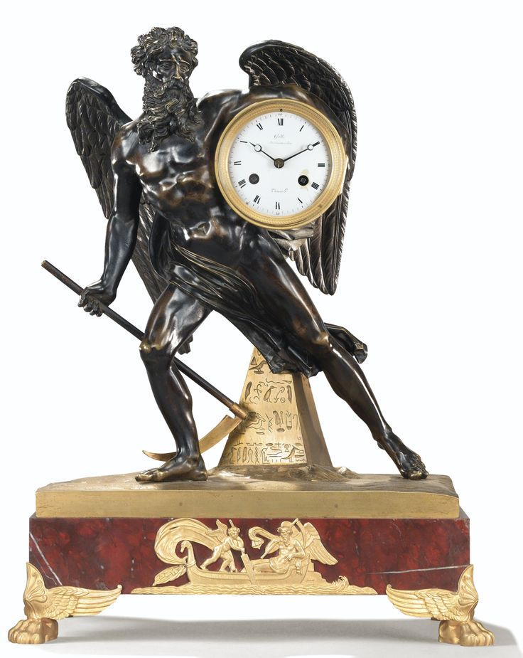 A PATINATED AND GILTBRONZE MANTEL CLOCK, EMPIRE, THE DIAL SIGNED GALLE/RUE VIVIENNE À PARIS AND THOMAS HR
