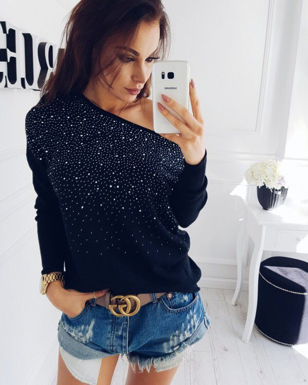 9aded599ea5db1 Shinning Beads One Shoulder Long Sleeves T-shirt | Fashion/Life♡ in ...