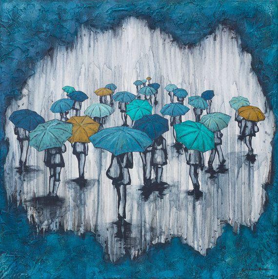 Rain Painting on wood panel titled The Blues by KendraStudiosInc