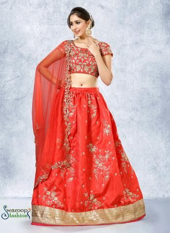 Traditional Red A Line Lehenga Choli With Embroidery Work