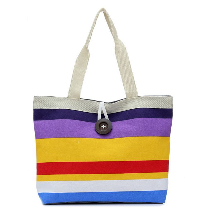 2016 Women Beach Canvas Bag Fashion Color Stripes Printing Handbags Ladies Large Shoulder Bag Totes Casual Bolsa Shopping Bags