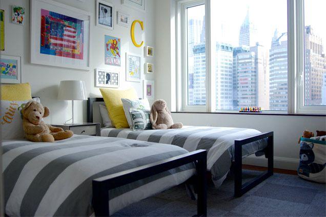 Boys' Shared Bedroom. Grey and yellow. Art wall. || Melisa Fluhr, Project Nursery, photos by Elizabeth Street