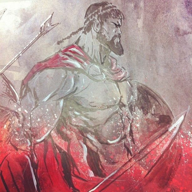"""Leonidas sketch on the inside cover of a """"300"""" Hardcover by Vince Sunico"""