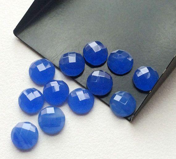 Blue Chalcedony Cabochons Blue Rose Cut Flat Back by gemsforjewels