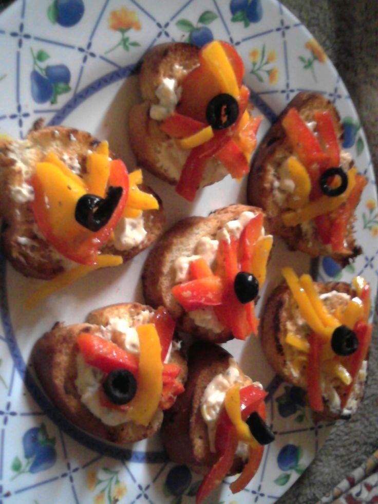 mixed pepper bruschetta