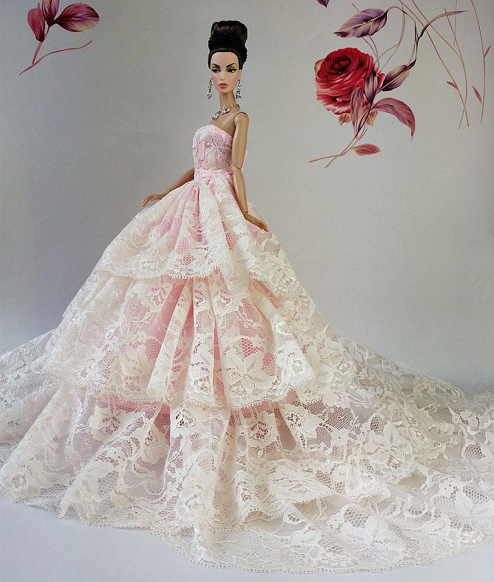 Royalty Princess Pink Lace Dress Wedding Bridal Outfit Gown For Barbie Dolls