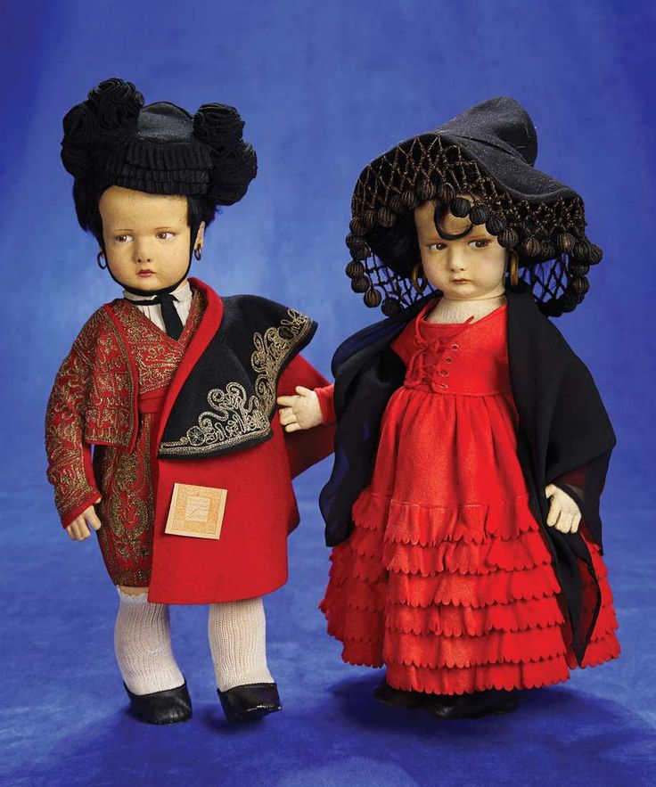 Italian Felt Character,300 Series,Spanish Boy and Girl by Lenci. 1930. http://Theriaults.com