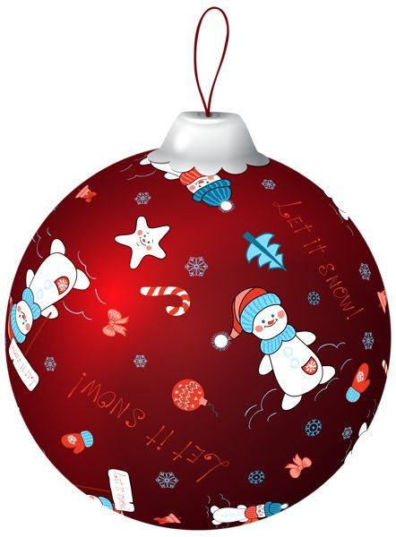 Red Christmas Ball with Snowman PNG Clip Art Image