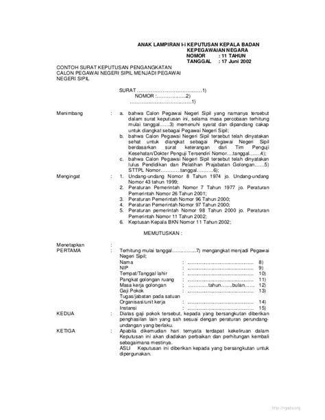 Contoh Surat Keputusan Pemberhentian Pegawai Negeri Sipil Contoh