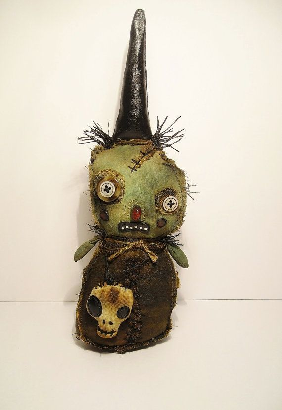 Handmade Art Doll Wee Witch Molly Marrow by JunkerJane on Etsy | via Junker Jane