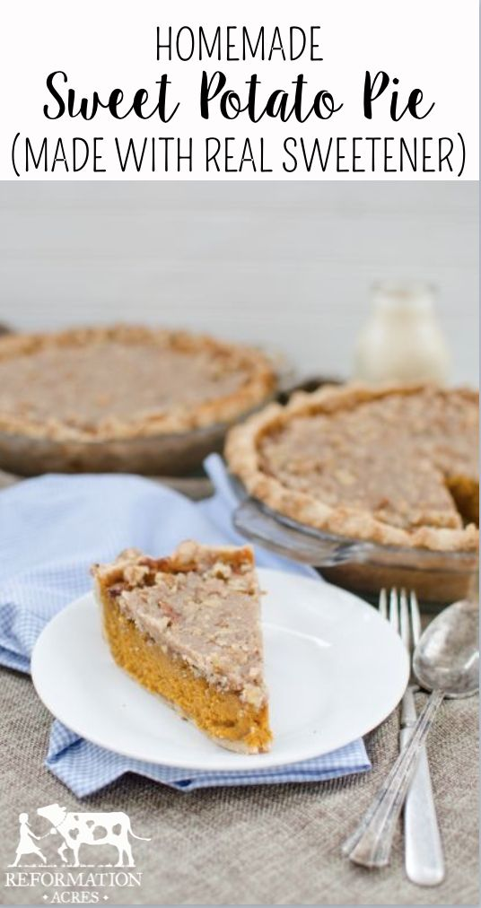 Homemade Sweet Potato Pie (This is my all-time favorite pie! The topping is out of this world delicious! Plus it's made with real foods!)