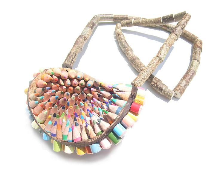 Maria Cristina Bellucci. Necklace: 15 neck 1, 2016. Colored pencils, wood..