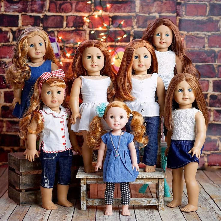 All our AG redheads! See anyone new to our group? She is an early birthday gift.   I will do a proper introduction once I figure out a name. We love our dolls of color and redheads. Wish AG made a redheaded doll with a Marie-Grace face mold, or Jess mold, or an Addy mold! Same goes with dolls of color. I'd like to see a dark Josefina mold, Marie-Grace mold and a Jess mold. We can dream...