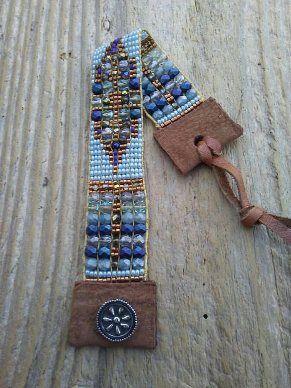 Bead Loom bracelet, bead woven bracelet, Native American inspired bracelet, bohemian bracelet, sterling silver, ooak, made in the USA. This bracelet is meticulously hand-loomed using Czech glass and Japanese seed beads. The ends are finished with recycled leather and a handmade sterling