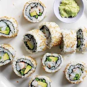 How to make sushi at home! | http://www.rachaelraymag.com/Recipes/rachael-ray-magazine-recipe-search/appetizer-starter-recipes/party-sushi-rolls