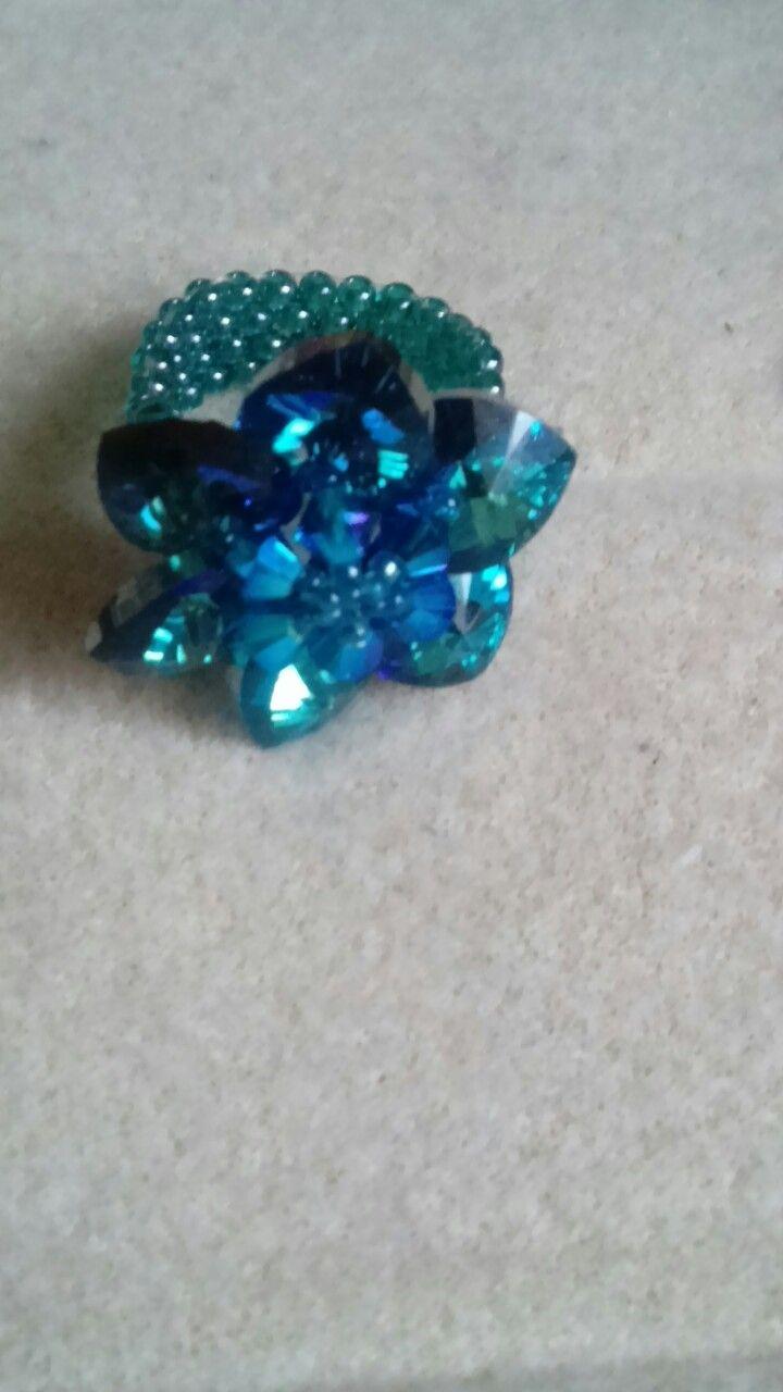 Blue ring, beaded flower, handmade