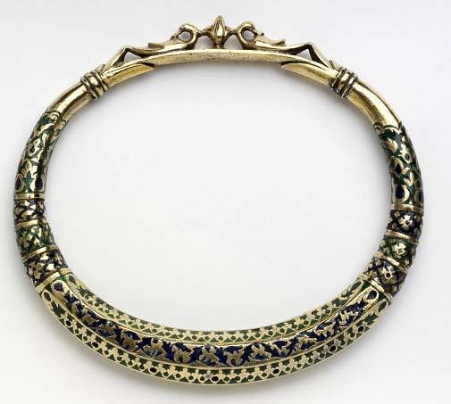 Kangra, India | Silver-gilt with enamel anklet | ca. 1850.
