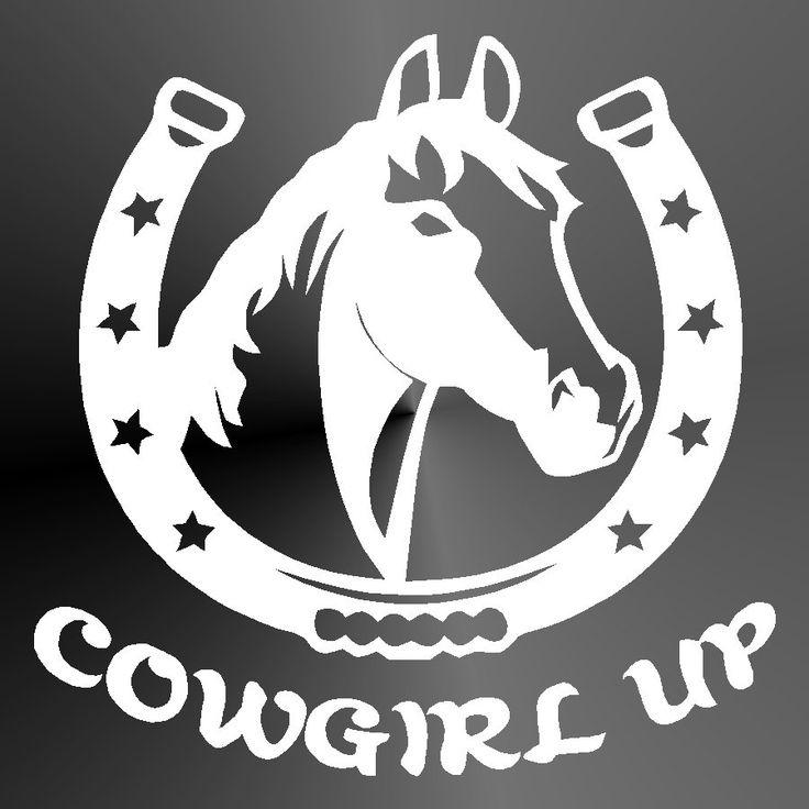 Decal Sticker Cowgirl Up Horse In Horseshoe Cut Vinyl Car