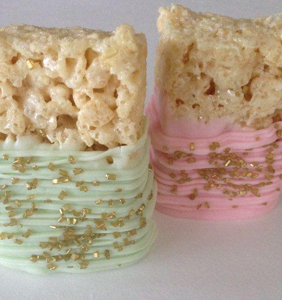 Pink Mint Gold Rice Krispie Treat Pink by SweetEscapesbyDebbie