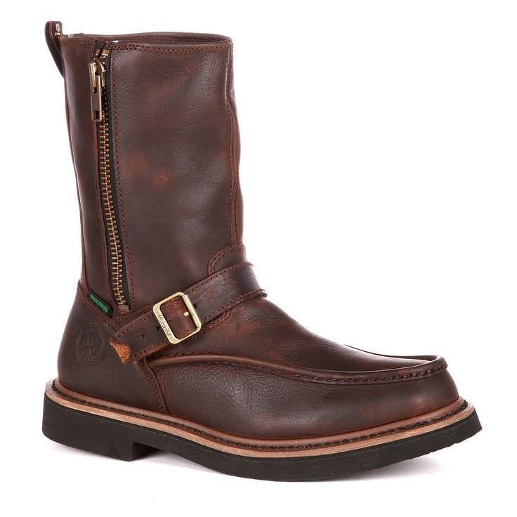 Georgia Boot Side-Zip Men's 10-in. Waterproof Wellington Work Boots, Size: medium (11.5), Brown