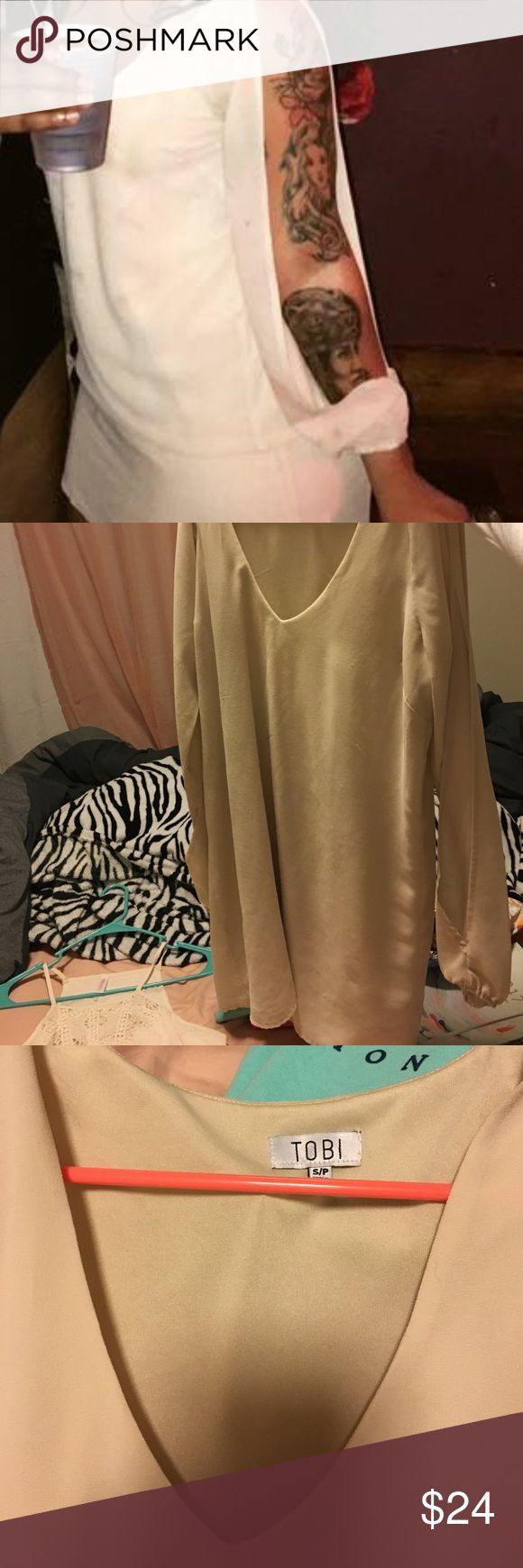 Tobi Dress nude dress with long sleeve cut outs! very cute made by tobi size small Tobi Dresses Long Sleeve