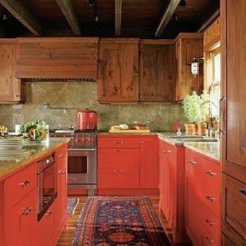 Дизайн красной кухни: фото интерьера