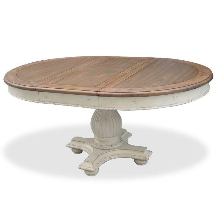 Coventry Two Tone Round Pedestal Dining Table With 18 Leaf By