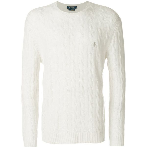 Polo Ralph Lauren classic knit jumper (€185) ❤ liked on Polyvore featuring men's fashion, men's clothing, men's sweaters, white, mens white cable knit sweater, mens knit sweater, mens polo sweaters, mens cable sweater and mens slim fit sweaters