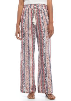 New Directions Women's Printed Crepon Pull-On Wide Leg Pants - Natural/Ikat - Xl