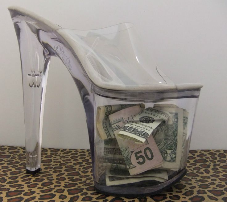 Sexy Stripper Shoe Trophy Eight Incher Clear Heel Tip Jar Bank | eBay