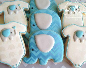 One Dozen (12) Chevron Elephant Themed Baby Shower Decorated Sugar Cookies
