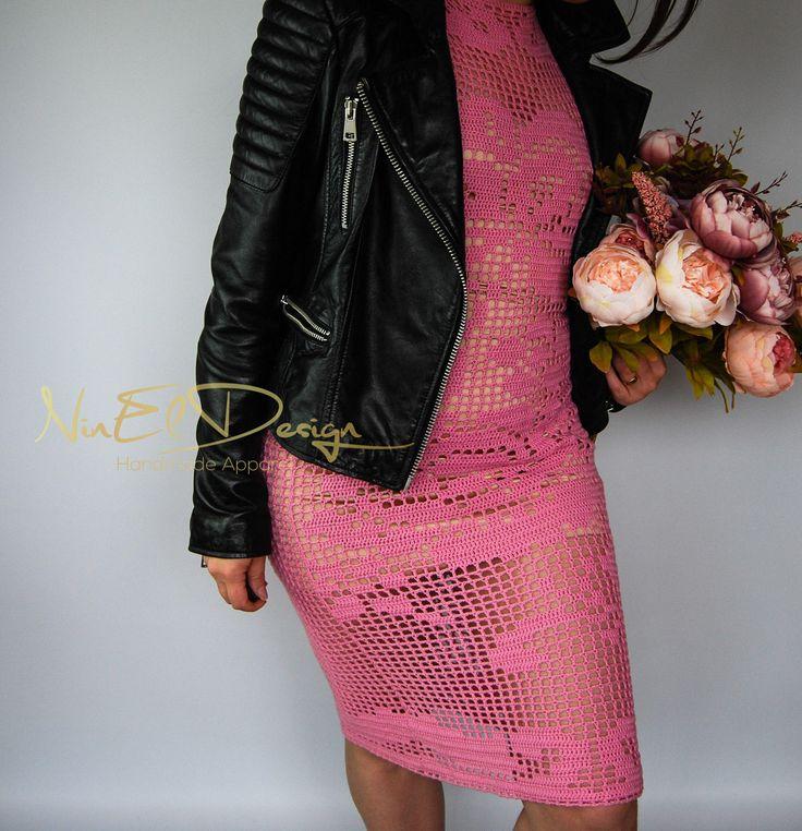 PINK Crochet Dress.Unique crochet dress. Net crochet dress. Lace crochet dress. Bohemian crochet dress. Boho crochet dress. Filet dress. by NinElDesign on Etsy