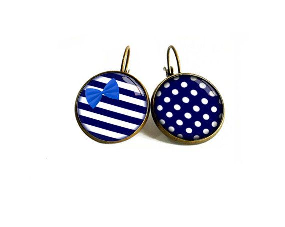 Earrings Noeud sailor navy blue stripes by Efeminacreations, €9.90 E-Femina créations pour etsy