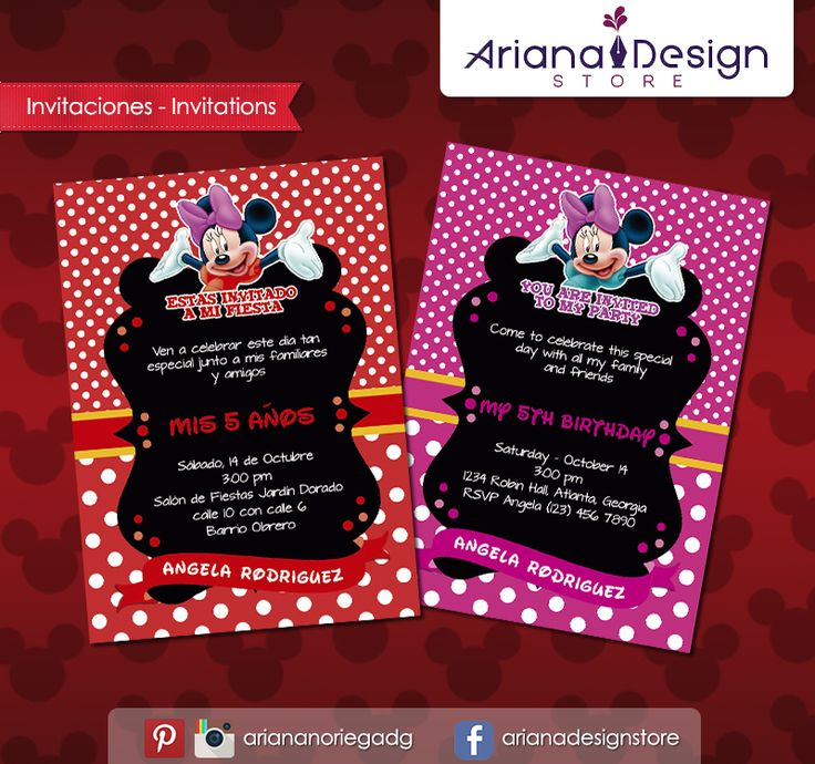 #printable #invitation #minniemouse #minnie #arianadesignstore #invitacion #fiestainfantil #cumpleaños