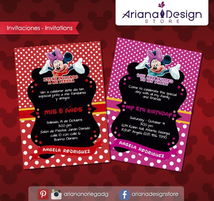 #printable #invitation #minniemouse #minnie #arianadesignstore #invitacion #fiestainfantil #cumpleaños