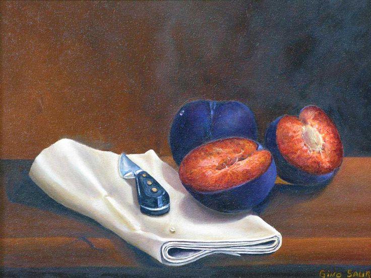 """Les prunes. Huile sur toile - 16""""x12"""""""