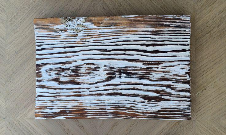 002 - bardzo stara deska sosnowa malowana na biało / 002 - antique pine board painted white
