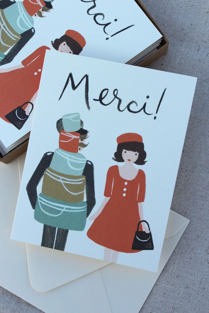 wedding thank you cards time limit%0A Merci monsieur for helping a lady with her many hat boxes  This playful  French card is the perfect way to say thank you with a touch of whimsy
