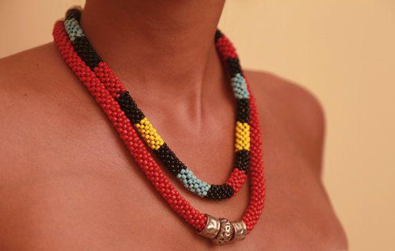 Exquisite african inspired crochet necklace.