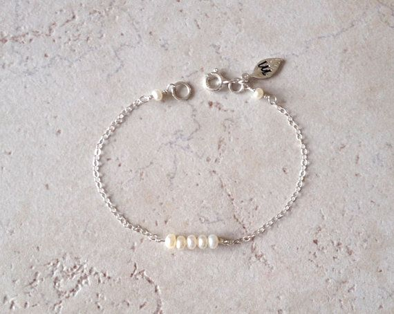 Pearl, June Gemstone, Initial, Leaf, Birthday, Christmas, Gift, Birthstone, Personalized, Sterling Silver Bracelet, LIJ 13064-2