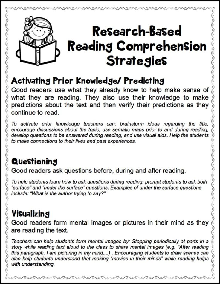 6 research-based reading comprehension strategies. Free handout.