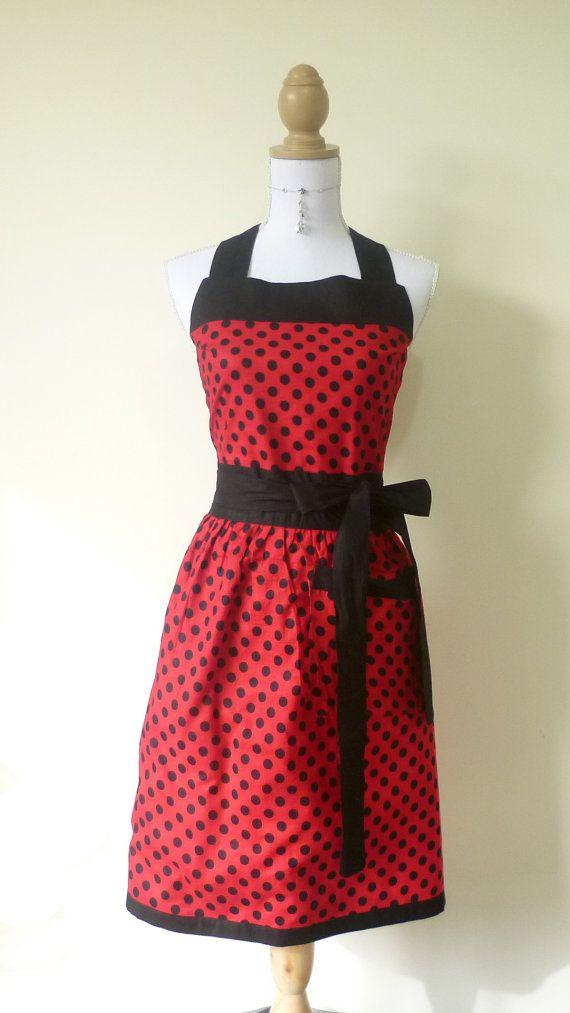 Cute Retro Full Bib Apron - Red and Black Lady Bug Reversible